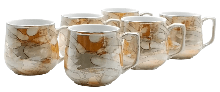 FnP CL Ceramic Tea and Coffee Cup - 6 Pieces, Glossy Golden, 120 ml