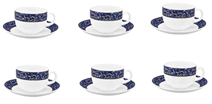 LaOpala Glass Cup And Saucer - 6 Pieces
