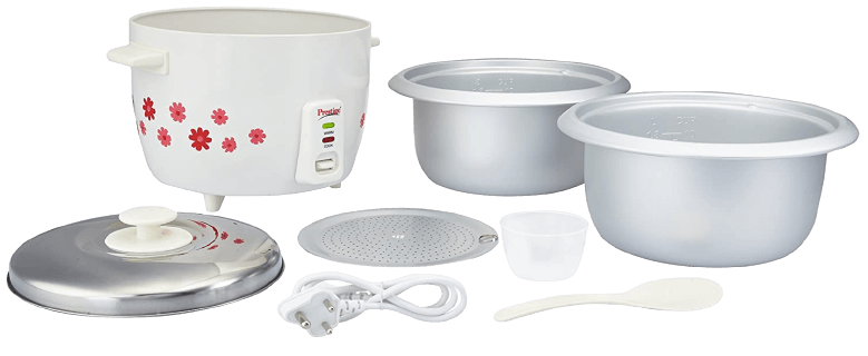 Prestige PRWO 1.8-2 700-Watts Delight Electric Rice Cooker with 2 Aluminium Cooking Pans