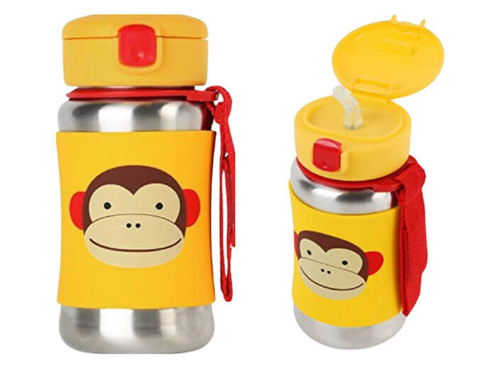 Skip Hop Baby Zoo Little Kid and Toddler Feeding Insulated Stainless Steel Straw Bottle, Marshall Monkey, Multicolour, 350 ml