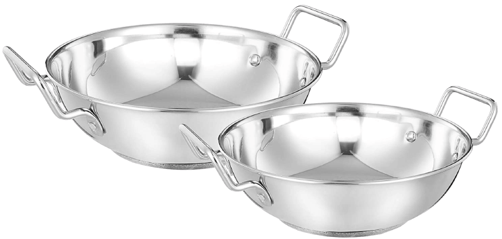 Amazon Brand- Solimo stainless steel induction bottom kadhai set, two pieces