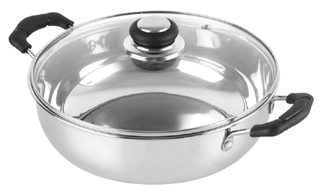 Cello steelox stainless steel kadhai, induction compatible, 3L with glass lid