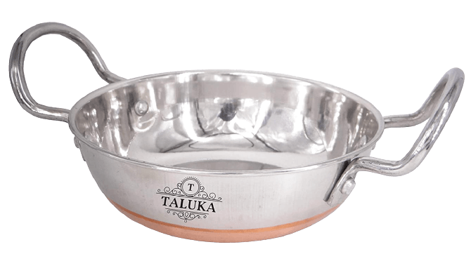 Taluka stainless steel copper bottom serving Kadhai, 800 ml, silver