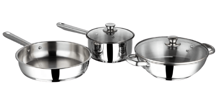 Vinod stainless steel induction friendly cookware, three pieces set