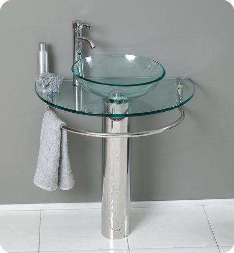 ARANAUT Arvind sanitary glass set round vessel/tabletop washbasin with a bowl, shelf, and steel stand (clear)