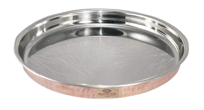 Bona Fide Pure Copper Dinner Plate,Outside Copper Inside Steel Round thali Diameter 13 inch Heavy ,Hand Made ,Hammered Good for Serving and Eating Food