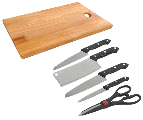 MODERN ENTERPRISE Stainless Steel Kitchen 5-Pieces Knife Set with Wooden Chopping Board