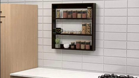 Trendal StyleWud Wooden Multipurpose Kitchen Wall Shelf for Storage Boxes - Decorative Wall Mounted Rack
