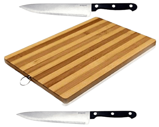 Vinjhraat non-slip wooden bamboo cutting board with an antibacterial surface, two stainless steel knife (brown)