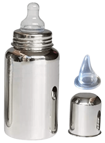 Baby Trendz Stainless Steel Baby 2 in 1 Feeding Bottle 300ml Capacity with Additional Sipper Nipple (Regular Bottle)