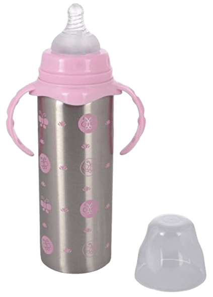 Sharma Clothing® Present Baby Feeding Bottle Stainless Still 3 in 1 Milk Feeding Bottle_Straw Sipper_Flask with Handle Pack Of1(Pink Steel)