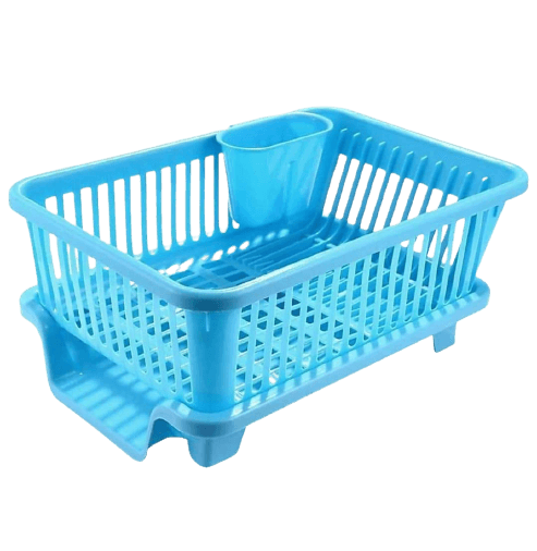 DAVRA ENTERPRISE 3 in 1 Large Durable Plastic Kitchen Sink Dish Rack Drainer Drying Rack Washing Basket with Tray