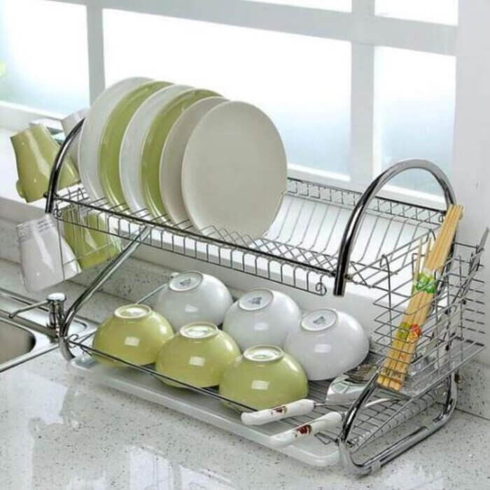 Dish Drainer Rack - Stainless Steel - S Shaped Dual Layers Dish Drainer Rack, Kitchen Collection Counter Top Sink Shelf Drainer Organizer