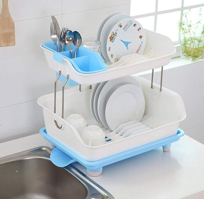 EASYMART Plastic 2 Tier Large Kitchen Sink Dish Drainer Rack Drying Basket Stand with Tray and Cutlery Utensil Holder