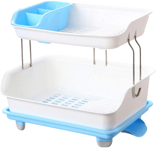 NEW CREATION Plastic 2 Layer Large Kitchen Sink Dish Drainer Rack Cutlery Utensil, Fruits and Vegetables Drying Basket Stand with Tray (Blue)