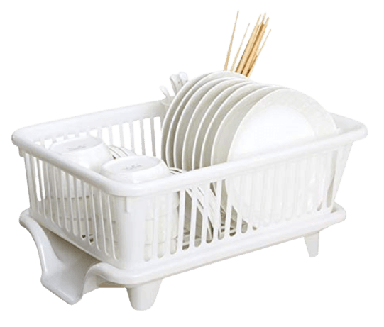 OSHOP® 3 in 1 Large Durable Plastic Kitchen Sink Dish Rack Drainer Drying Rack Washing Basket with Tray for Kitchen, Dish Rack Organizers, Utensils