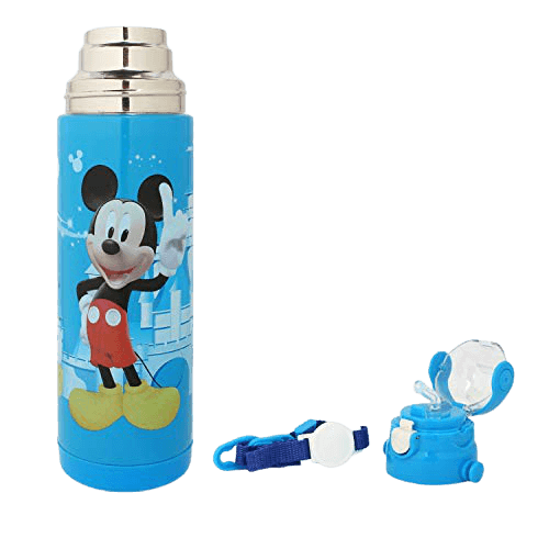 OnlineWorld cartoon printed BPA-free stainless steel insulated water bottle, sipper for kids, school 500 ml, blue