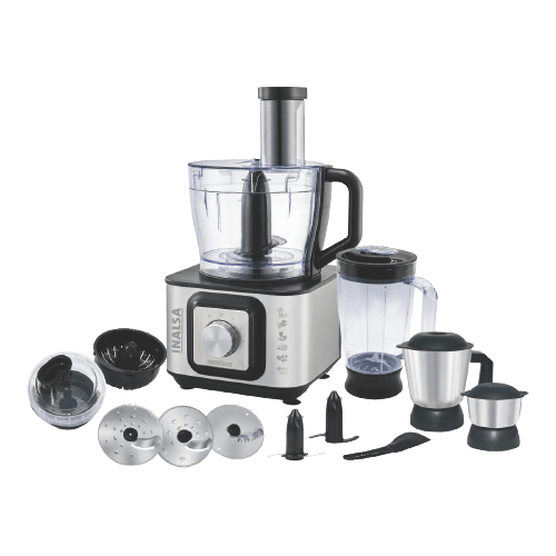 INALSA INOX 1000 1000W Food Processor with Blender Jar,304 Grade SS Dry Grinding,Chutney Jar,12 Accessories,Centrifugal and Citrus Juicer