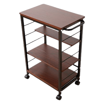 InnoFur Kinisi Wagon Storage, Trolley with Wheels, Spices Rack, Coffee, Serving, Table with Adjustable Shelf Regular Brown
