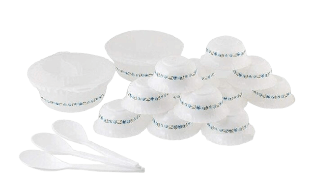 Topex microwave-safe plastic printed round dinner set of 36 pieces