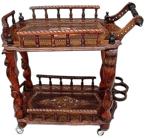 Aarsun standard handcrafted traditional serving trolley cart